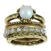 Capelli New York 5 Pieces Metal  Ring Set; 1 With Pearl, 1 With Rhinestone Antique Gold