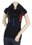 Capelli New York Solid Loop Scarf with Beaded Tassel Trim