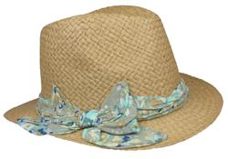 Capelli New York Flat Paper Weave Trilby With Watercolor Floral Sash And Bow Detail