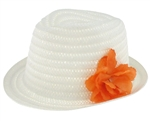 Capelli New York Solid Wide Paper Trilby Hat With Flower On The Side