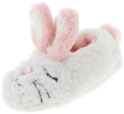 Capelli New York Girls Bunny Indoor Slippers with Embroidery