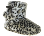 Capelli New York Leopard Print Boot With Pom And Tie Trim Ladies Indoor Slipper