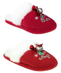 "Capelli New York ""Jingle Bells"" Slipper Scuff With Bow Bells And Sock Ladies Indoor Slipper"