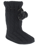 Capelli New York Fold Over Knit Tied Boot With Pom Trim Ladies Indoor Slippers
