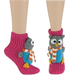 Capelli New York Chilly Owl 3D Full Body Slipper Sock With Grippers