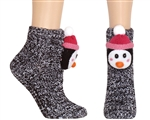 Capelli New York Adorable Penguin 3D Head Marled Slipper Sock With Grippers
