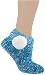 Capelli New York Knit Marled Soft Acrylic Slipper Bootie Sock With Pom & Grippers