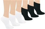 Capelli New York White & Black Solid 6 Pack No Show Socks