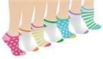 Capelli New York Preppy Dots & Stripes 7 Pack No Show Socks