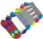 Capelli New York Harlequin Argyle 6 Pack No Show Socks
