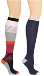 Capelli New York Color Block 2 Pack Ladies Knee High Socks