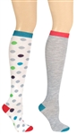 Capelli New York Jumbo Dots 2 Pack Ladies Knee High Socks
