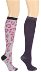 Capelli New York Pop Leopard 2 Pack Ladies Knee High Socks