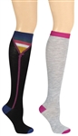 Capelli New York Unzipped Pattern Stripe 2 Pack Ladies Knee High Socks