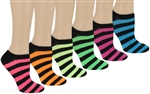 Capelli New York Bright Striped Ladies 6 Pack No Show Socks