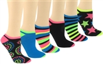 Capelli New York Striped & Colorblock Ladies 6 Pack No Show Socks