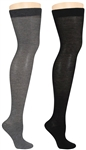 Capelli New York Solid Ladies 2 Pack Thigh High Socks
