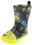 Capelli New York Toddler Boys Shiny Emojis In Space Printed Jelly Rain Boot
