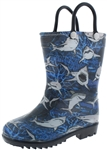 Capelli New York Toddler Boys Underwater Sharks Printed Rain Boots Blue Combo