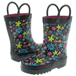 Capelli New York Shiny Playful Florals Printed Rubber Rain Boot