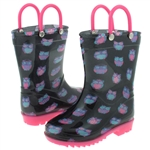 Capelli New York Toddler Girls Shiny Accessory Owl Printed with Handles Jelly Rain Boots