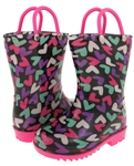 Capelli New York Jumbled Cute Hearts Print with Handles Toddler Girls Rain Boot Multi Brites