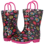 Capelli New York Toddler Girls Floral Printed Rain Boot Pink Combo