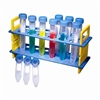 <center>Plastic Tiered Rack, 12 Plastic Tubes, Screw Caps</center>