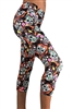 Women's Yoga Pants - Sugar Skulls (Orange) Capris