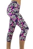 Women's Yoga Pants - Sugar Skulls (Pink) Capris