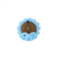 ROYAL ICING AFRICAN AMERICAN BABY IN BONNET - BLUE