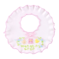 Large Baby Bib - White With Pink