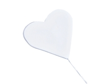 Gum Paste Heart On A Wire - White