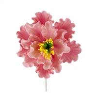 XL Gum Paste Peony Blossom - Pink With Yellow And Green Center