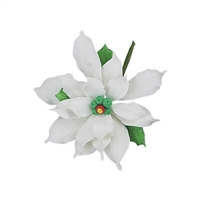 Medium Gum Paste Deluxe Poinsettia - White