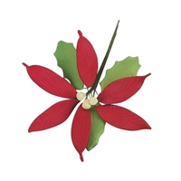 Medium Gum Paste Poinsettia - Red