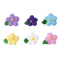 Small Royal Icing Drop Flower With Leaf - Assorted Colors