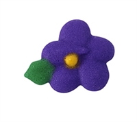 Small Royal Icing Drop Flower With Leaf - Purple