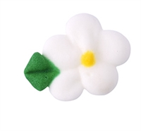 Small Royal Icing Drop Flower With Leaf - White