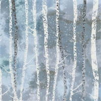 White birch forest screen print with white snowflake lacquer, in light blue to medium gray.