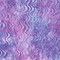 Undulating wave fabric in purple, blue, and pink.
