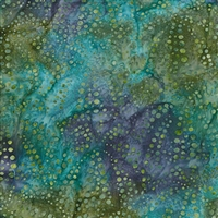 Sand Dollar pattern fabric in green, aqua, and royal blue.