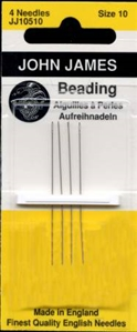 Package of four beading needles made in England by John James Co.