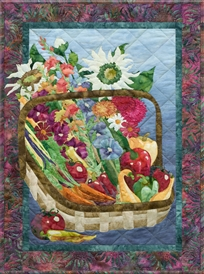 Quilt block of a basket of freshly harvested produce and flowers from an abundant garden.