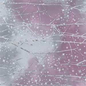 Snowy forest screen print with metallic snowfall lacquer in plum and medium gray.