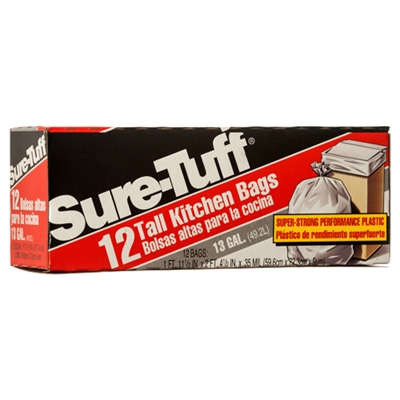 Sure-Tuff White 13 Gal trash bags 12-ct