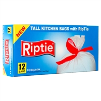 24 Units Rip-Tie 13 Gal Kitchen  trash bags 12-ct