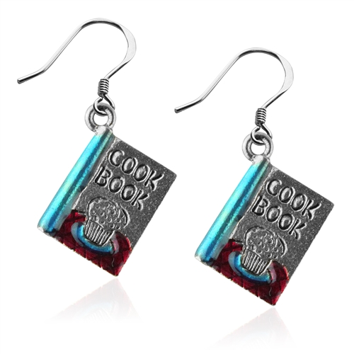 Cook Book Charm Earrings in Silver