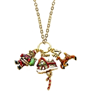 Christmas Charm Necklace in Gold