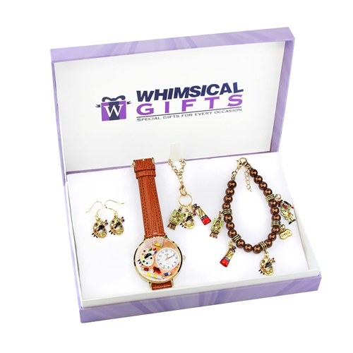 Whimsical Gifts Artist Gold 4-piece Watch-Bracelet-Necklace-Earrings Jewelry Set